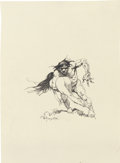 Mainstream Illustration, FRANK FRAZETTA (American b. 1928). Cave Man Carrying aWoman. Ink on paper. 10.25 x 7.5 in.. Signed lower center. ...