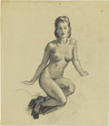 Pin-up and Glamour Art, GIL ELVGREN (American 1914 - 1980). Seated Nude, studiodrawing, c. 1956. Charcoal on vellum. 19 x 16 in.. Not signed....