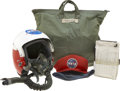 Explorers:Space Exploration, John Young's Flown T-38 Helmet with Storage Bag, and Clipboard with Handwritten Notations Directly from his Personal Collectio... (Total: 5 Items)