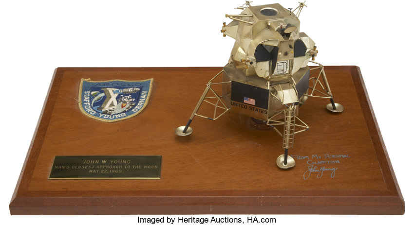 Apollo 10 Lunar Module Model on a Plaque Directly from the
