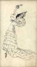 Pin-up and Glamour Art, PETER DRIBEN (American 1903 - 1975). Flamenco Girl. Penciland ink on board. 19 x 10 in.. Signed lower right. ...