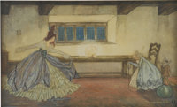 WILLIAM TIMLIN (English/South African 1892-1943) Cinderella, book illustration Mixed-media on pape