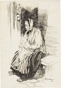 ARTHUR RACKHAM (English 1867 - 1939) Old Lady With a Baby, 1898 Ink on paper 7.75 x 5.25 in. S