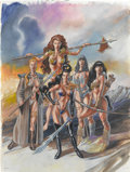 Pin-up and Glamour Art, HECTOR GOMEZ (Brazilian 20th Century). Female Warriors,1994. Acrylic on board. 15.5 x 11.75 in.. Signed center left. ...