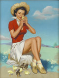 Pin-up and Glamour Art, KNUTE O. MUNSON (American 20th Century). A Cute Little Chick,calendar illustration. Pastel on paper. 32 x 24 in.. Signe...