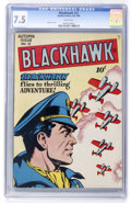 Golden Age (1938-1955):War, Blackhawk #12 (Quality, 1946) CGC VF- 7.5 White pages....