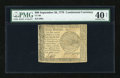 Colonial Notes:Continental Congress Issues, Continental Currency September 26, 1778 $60 PMG Net Extremely Fine40....