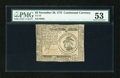 Colonial Notes:Continental Congress Issues, Continental Currency November 29, 1775 $3 PMG About Uncirculated53....