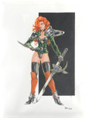 Pin-up and Glamour Art, RALY (20th Century). Red Headed Warrior Girl. Mixed media onpaper. 14.5 x 10.75 in.. Signed lower right. ...
