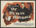 "Movie Posters:Drama, Of Human Bondage (Warner Brothers, 1946). Lobby Card Set of 8 (11"" X 14""). Drama.. ... (Total: 8 Items)"