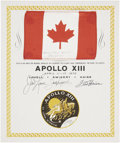 Explorers:Space Exploration, Apollo 13 Flown National Flag of Canada Directly from the PersonalCollection of Mission Commander James Lovell, Certified and...