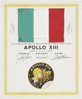 Explorers:Space Exploration, Apollo 13 Flown National Flag of Italy Directly from the Personal Collection of Mission Commander James Lovell, Certified and ...
