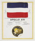 Explorers:Space Exploration, Apollo 13 Flown National Flag of France Directly from the Personal Collection of Mission Commander James Lovell, Certified and...