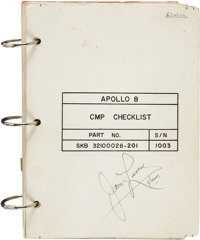 Apollo 8 Flown CMP Checklist Directly from the Personal Collection of Mission Command Module Pilot James Lovell, Certifi...