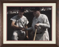 Autographs:Photos, Ted Williams Signed Oversized Framed Photograph With Babe Ruth....