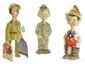 Antiques:Toys, Lot of Three Vintage Tin Litho Windup Character Figures.... (Total: 3 Items)