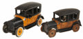 Antiques:Toys, Pair of Arcade Cast Iron Yellow Taxi Cabs.... (Total: 2 Items)