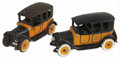 Antiques:Toys, Arcade Cast Iron Yellow Taxi Cabs.... (Total: 2 Items)