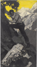 Paintings, SAUL TEPPER (American 1899 -1987). Man Climbing a Mountain Western magazine story illustration, 1931. Oil on canvas. 37 ...