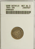 Seated Dimes, 1844 10C --Damaged--AG3 ANACS. Good Details. Net AG 3. NGC Census:(0/52). PCGS Population (1/132). Mintage: 72,500. Num...