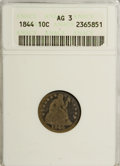 Seated Dimes: , 1844 10C AG3 ANACS. NGC Census: (0/52). PCGS Population (1/132).Mintage: 72,500. Numismedia Wsl. Price for NGC/PCGS coin i...