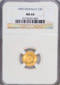 Commemorative Gold: , 1903 G$1 Louisiana Purchase/McKinley MS64 NGC. NGC Census:(462/782). PCGS Population (809/1022). Mintage: 17,500. Numismed...