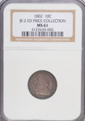 Early Dimes, 1802 10C MS61 NGC. Ex:ED Price Collection. JR-2. NGC Census: (3/2).PCGS Population (0/3). Mintage: 10,975. Numismedia Wsl....