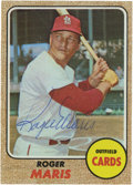 Baseball Cards:Singles (1960-1969), 1968 Topps Roger Maris #330 Signed Card. Beautiful vintage blue ballpoint signature was applied to this career-end card by t...