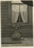 """Antiques:Black Americana, Portrait of a Young Black Girl by Lewis Hine. A well-known and evocative portrait, 4"""" x 5"""", of a young black girl with two o..."""