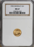 Commemorative Gold: , 1903 G$1 Louisiana Purchase/McKinley MS67 NGC. NGC Census: (84/1).PCGS Population (73/1). Mintage: 17,500. Numismedia Wsl....