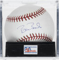 Autographs:Baseballs, Barry Bonds Single Signed Baseball, PSA Mint+ 9.5. With just tenhome runs between Bonds and Hank Aaron in the all-time home...