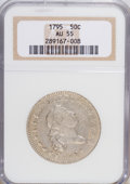 Early Half Dollars: , 1795 50C 2 Leaves AU55 NGC. NGC Census: (33/79). PCGS Population(22/35). Mintage: 299,680. Numismedia Wsl. Price for NGC/P...