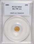 California Fractional Gold: , 1881 25C Indian Octagonal 25 Cents, BG-799AA, R.7 MS61 PCGS. PCGSPopulation (2/4). (#10653)...