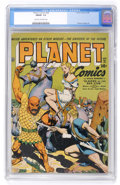 Golden Age (1938-1955):Science Fiction, Planet Comics #28 (Fiction House, 1944) CGC FN/VF 7.0 Cream tooff-white pages....