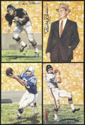 Football Collectibles:Others, Goal Line Art Football Cards Lot Of 24, 10 Signed. ...