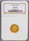 Liberty Quarter Eagles: , 1841-D $2 1/2 AU53 NGC. NGC Census: (4/19). PCGS Population (4/6).Mintage: 4,164. Numismedia Wsl. Price for NGC/PCGS coin ...