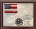 Explorers:Space Exploration, Apollo-Soyuz Test Project Flown American Flag Directly from the Personal Collection of Backup Command Module Pilot Ron Evans....