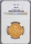 Liberty Eagles: , 1860 $10 AU50 NGC. NGC Census: (17/70). PCGS Population (17/26).Mintage: 15,105. Numismedia Wsl. Price for NGC/PCGS coin i...