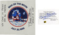 Explorers:Space Exploration, Apollo 11 Command Module Flown Foil and Unflown Beta Cloth Insignia, Both Signed by Buzz Aldrin. ... (Total: 2 Items)