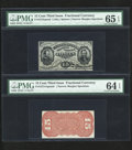 Fractional Currency:Third Issue, Fr. 1272SP/1273-5 5c Third Issue Narrow Margin Pair PMG Gem Uncirculated 65 EPQ and PMG Choice Uncirculated 64 EPQ.... (Total: 2 )