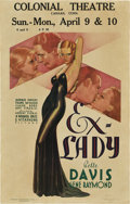 "Movie Posters:Drama, Ex-Lady (Warner Brothers, 1933). Window Card (14"" X 22"").. ..."