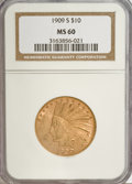Indian Eagles, 1909-S $10 MS60 NGC....