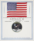 Explorers:Space Exploration, Apollo 11 Command Module Flown American Flag on Certificate,Certified and Signed on Verso by Mission Lunar Module Pilot B...