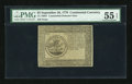 Colonial Notes:Continental Congress Issues, Continental Currency Counterfeit Detector September 26, 1778 $5 PMGAbout Uncirculated 55 EPQ....