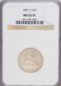 Seated Quarters, 1891-S 25C MS62 Prooflike NGC. NGC Census: (19/89). PCGS Population(23/93). Mintage: 2,216,000. Numismedia Wsl. Price for ...