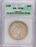 Early Half Dollars: , 1795 50C 2 Leaves VF25 ICG. NGC Census: (55/332). PCGS Population(83/270). Mintage: 299,680. Numismedia Wsl. Price for NGC...