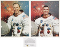 Explorers:Space Exploration, Apollo 13 Flown Heat Deflecting Material and Color Photos Signed.... (Total: 3 Items)