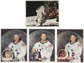 Autographs:Celebrities, Apollo 11 Matching Individual Color Photos Signed. ... (Total: 4Items)