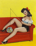 Pin-up and Glamour Art, PETER DRIBEN (American 1903 - 1975). Fission n' Funnin', Joker#16 cover, 1949. Oil on board. 22 x 17 in.. Not signed. ...(Total: 2 Items)