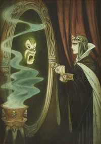 GUSTAF TENGGREN (American 1896 - 1970) The Queen and the Magic Mirror, c. 1938 Mixed-media on paper<